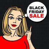 Burbuja negra de la venta de viernes y mujer del arte pop para señalar el finger Imagenes de archivo