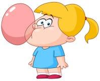 Burbuja que sopla de la muchacha de la goma Fotografía de archivo