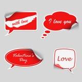 Burbuja roja del diálogo de las etiquetas engomadas de la tarjeta del día de San Valentín Imagen de archivo libre de regalías