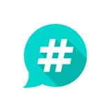 Burbuja verde con el hashtag y la sombra larga Imagenes de archivo