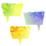 Burbujas amarillas del discurso del vector con los triángulos Imagen de archivo