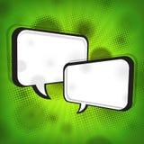 Burbujas blancas del discurso en granero verde Imagen de archivo libre de regalías