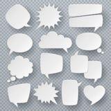 Burbujas blancas del discurso Símbolos pensados de la burbuja del texto, formas burbujeantes del discurso de la papiroflexia Sist stock de ilustración