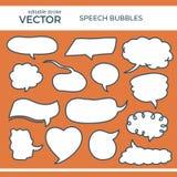 Burbujas bosquejadas del discurso con el movimiento Editable Imagenes de archivo