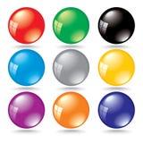 Burbujas brillantes del color 3d con la reflexión de la ventana Imagen de archivo libre de regalías