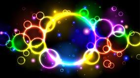 Burbujas brillantes del color de neón del arco iris, círculos multicolores abstractos del fondo, chispas y bokeh ilustración del vector