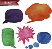 Burbujas brillantes del discurso de la acuarela fijadas stock de ilustración