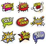 Burbujas cómicas del discurso con palabras del promo Sistema del vector de las banderas del descuento, de la venta y de la histor libre illustration