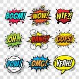 Burbujas cómicas del discurso del vector fijadas con palabras stock de ilustración