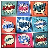 Burbujas cómicas fijadas Arte pop de las expresiones stock de ilustración