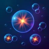 Burbujas cósmicas brillantes azules del vector stock de ilustración