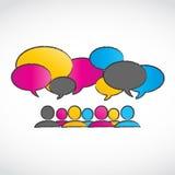 Burbujas coloridas abstractas del discurso de la conversación Imagen de archivo libre de regalías
