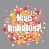 Burbujas coloridas Vector el ejemplo de las burbujas del rojo, anaranjadas y amarillas en fondo gris ¿Burbujas del amor? pregunta Imagenes de archivo