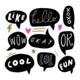 Burbujas con el texto, símbolos del mensaje, discurso directo, elementos del vector para el diseño libre illustration