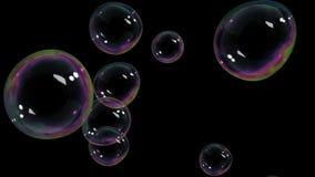 Burbujas de aire hermosas que suben en fondo negro HD 1080 almacen de video