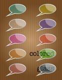 Burbujas de cristal coloreadas del discurso stock de ilustración