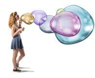 Burbujas de jabón coloridas imagenes de archivo