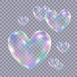 Burbujas de jabón coloridas transparentes realistas en la forma de la audición Fotos de archivo libres de regalías