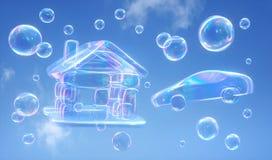 Burbujas de jabón contra un cielo azul - ejemplo 3D ilustración del vector