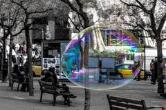 Burbujas de jabón en el cuadrado de Florence Italy Foto de archivo libre de regalías