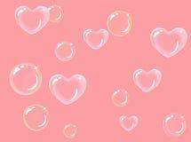 Burbujas de jabón en forma de corazón Imágenes de archivo libres de regalías