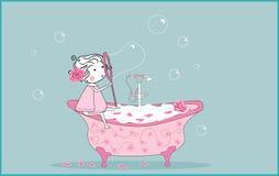 Burbujas de jabón que soplan stock de ilustración
