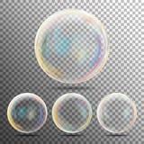 Burbujas de jabón realistas con el sistema de la reflexión del arco iris aislado encendido en fondo a cuadros transparente Ilustr stock de ilustración
