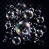 Burbujas de jabón transparentes y multicoloras sobre oscuridad ilustración del vector