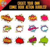 Burbujas de la acción del estilo del cómic con el efecto de semitono Fotografía de archivo libre de regalías
