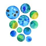 Burbujas de la acuarela en color azul Foto de archivo