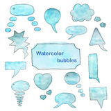 Burbujas de la acuarela fijadas Foto de archivo