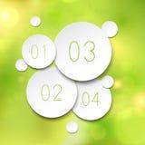 Burbujas de la ronda de papel sobre verde Imágenes de archivo libres de regalías