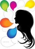Burbujas de la silueta y del discurso de la cara de la mujer Fotos de archivo libres de regalías