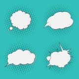 Burbujas de los pensamientos fijadas Estilo de los tebeos del arte pop El tono medio puntea el fondo libre illustration