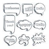 Burbujas del discurso con las palabras y las frases, ejemplo del bosquejo del vector Nubes cómicas exhaustas del texto de la mano ilustración del vector