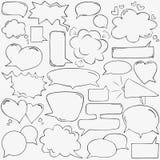 Burbujas del discurso con los corazones y las nubes Fotografía de archivo libre de regalías