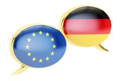 Burbujas del discurso, concepto de la conversación de EU-Alemania representación 3d stock de ilustración