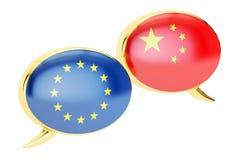 Burbujas del discurso, concepto de la conversación de EU-China representación 3d Imagen de archivo libre de regalías