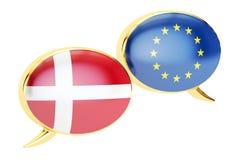 Burbujas del discurso, concepto de la conversación de EU-Dinamarca representación 3d ilustración del vector