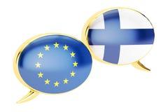Burbujas del discurso, concepto de la conversación de EU-Finlandia representación 3d ilustración del vector