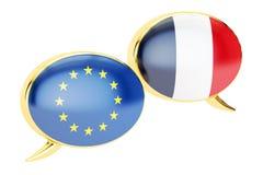 Burbujas del discurso, concepto de la conversación de EU-Francia representación 3d ilustración del vector