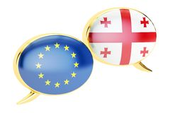 Burbujas del discurso, concepto de la conversación de EU-Georgia representación 3d stock de ilustración