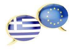 Burbujas del discurso, concepto de la conversación de EU-Grecia representación 3d stock de ilustración