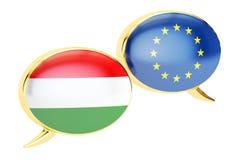 Burbujas del discurso, concepto de la conversación de EU-Hungría representación 3d ilustración del vector