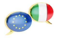 Burbujas del discurso, concepto de la conversación de EU-Italia representación 3d stock de ilustración