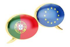 Burbujas del discurso, concepto de la conversación de EU-Portugal representación 3d ilustración del vector