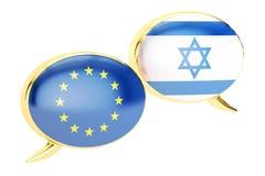 Burbujas del discurso, concepto EU-israelí de la conversación representación 3d stock de ilustración