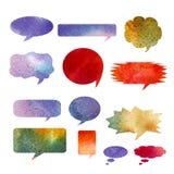 Burbujas del discurso de la acuarela Textura dibujada mano de la acuarela Imagen de archivo