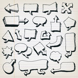 Burbujas del discurso de la historieta del garabato fijadas Imágenes de archivo libres de regalías