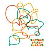 Burbujas del discurso de la historieta Diversos tamaños y formas Imagen de archivo